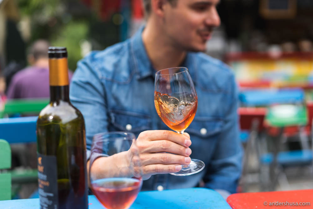 Natural wine in the glass