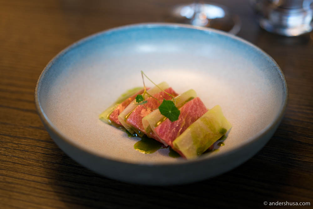 Bluefin tuna from Øygarden with apple-marinated kohlrabi & nasturtium.