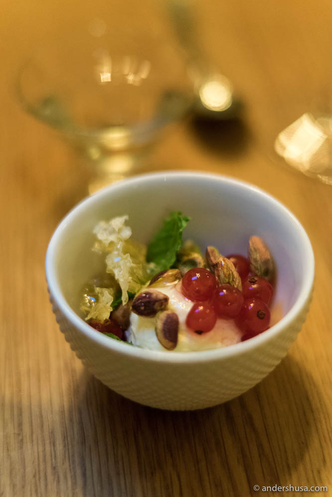 Mascarpone cream, with honey, red currants, pistachios & mint