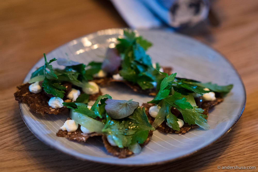 Rye crackers with parsley, tomato, smoked cream & olives.