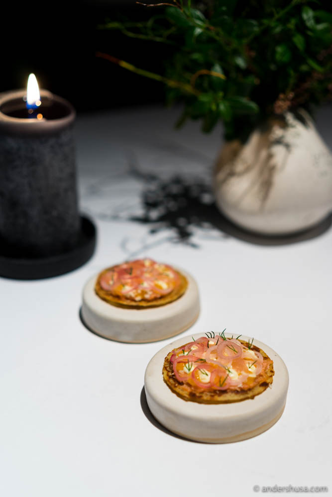 """Lompe"" with fermented trout and horseradish by Esben Holmboe Bang"