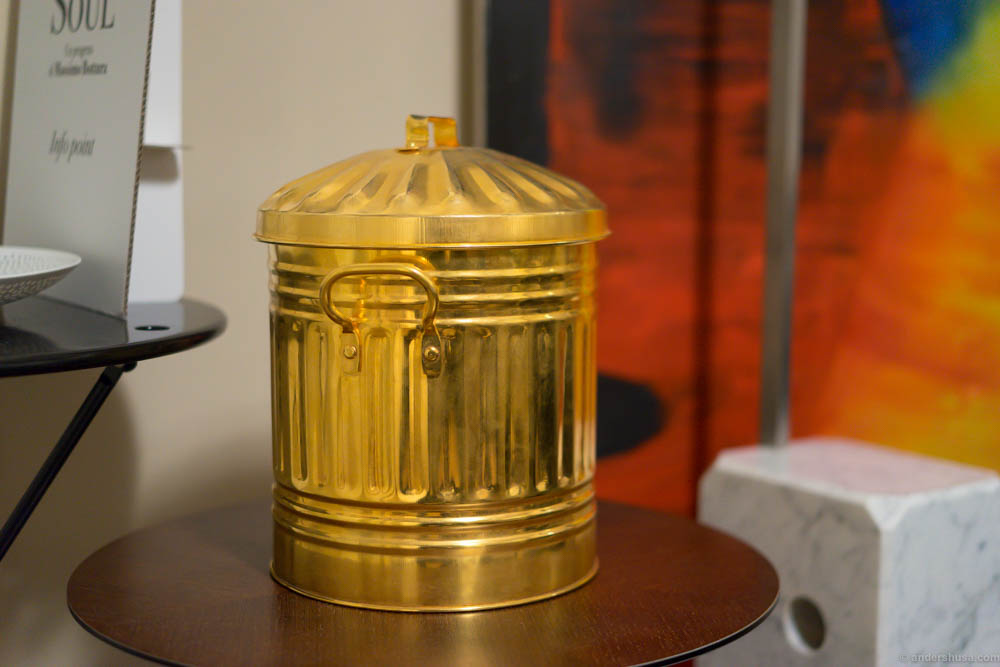 The golden trashcan