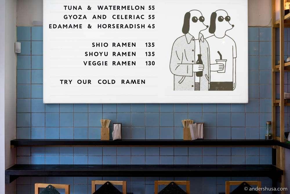 The menu at Slurp Ramen
