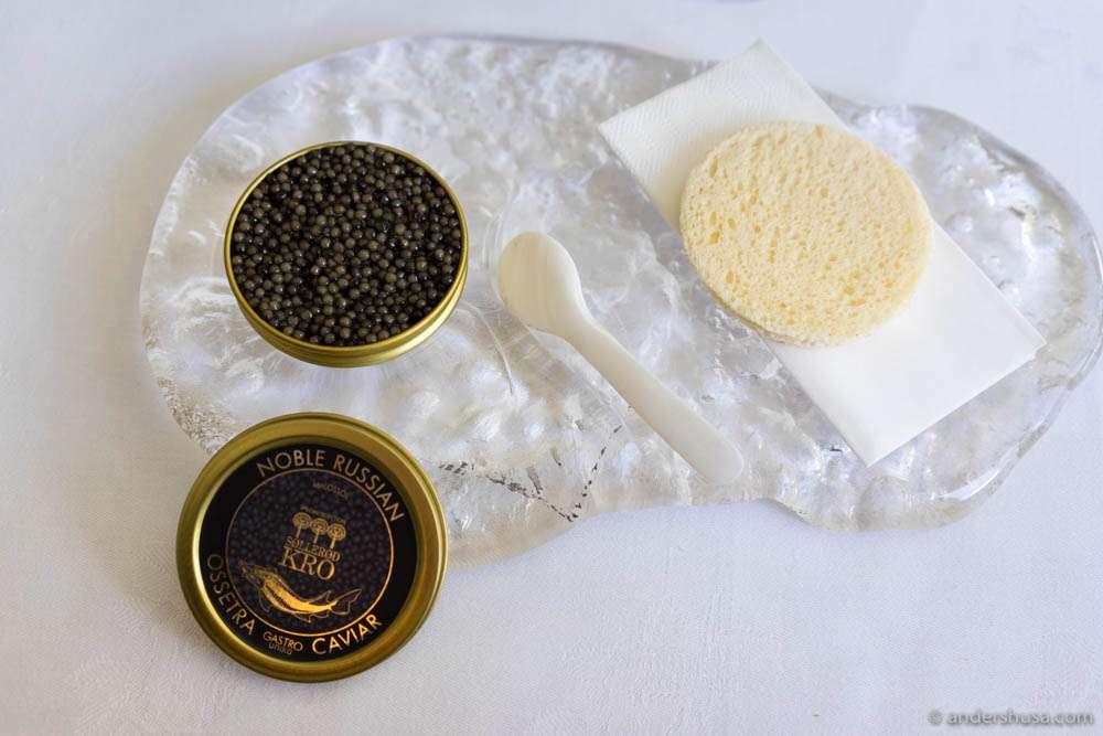 "Oscietra Unika ""en surprise"" – celeriac cream ""panna cotta,"" razor clam & caviar. Toast with horseradish cream"