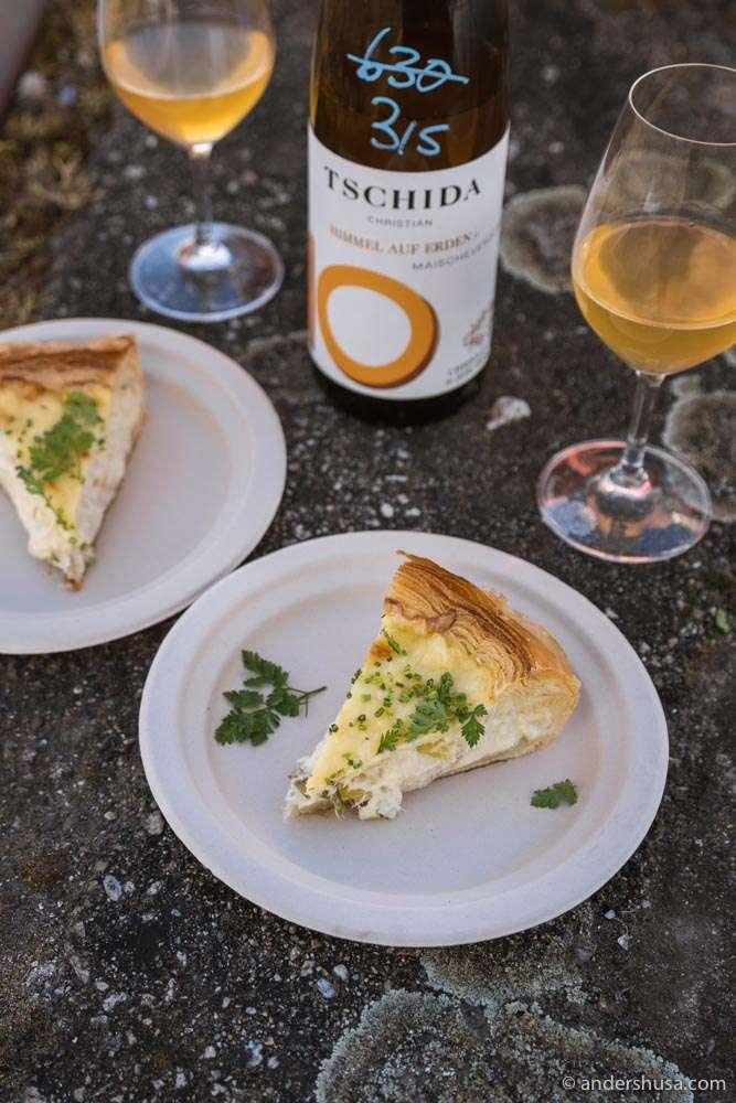 Organic fish pie and a bottle of Tschida.