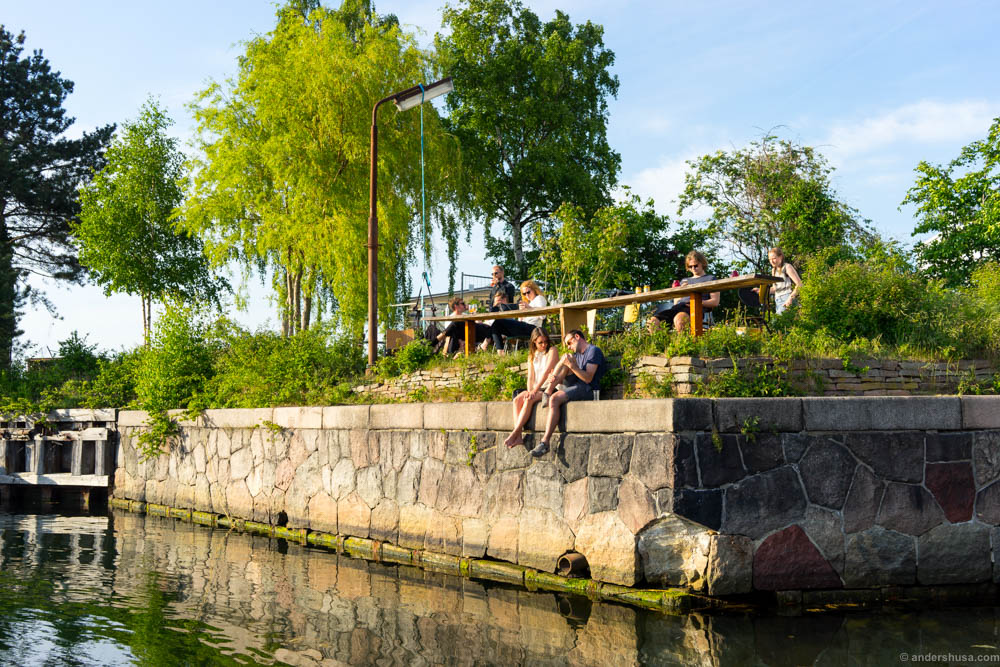 Sip wine by the water at La Banchina in Copenhagen.
