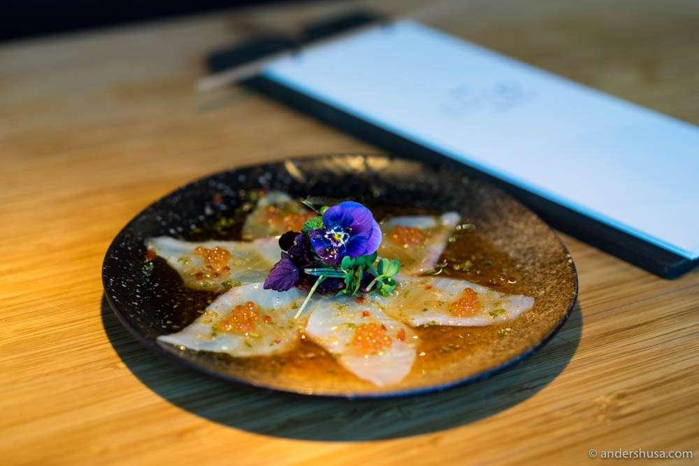 Sashimi. Halibut from Hjelmeland, ponzu sauce & salmon roe.
