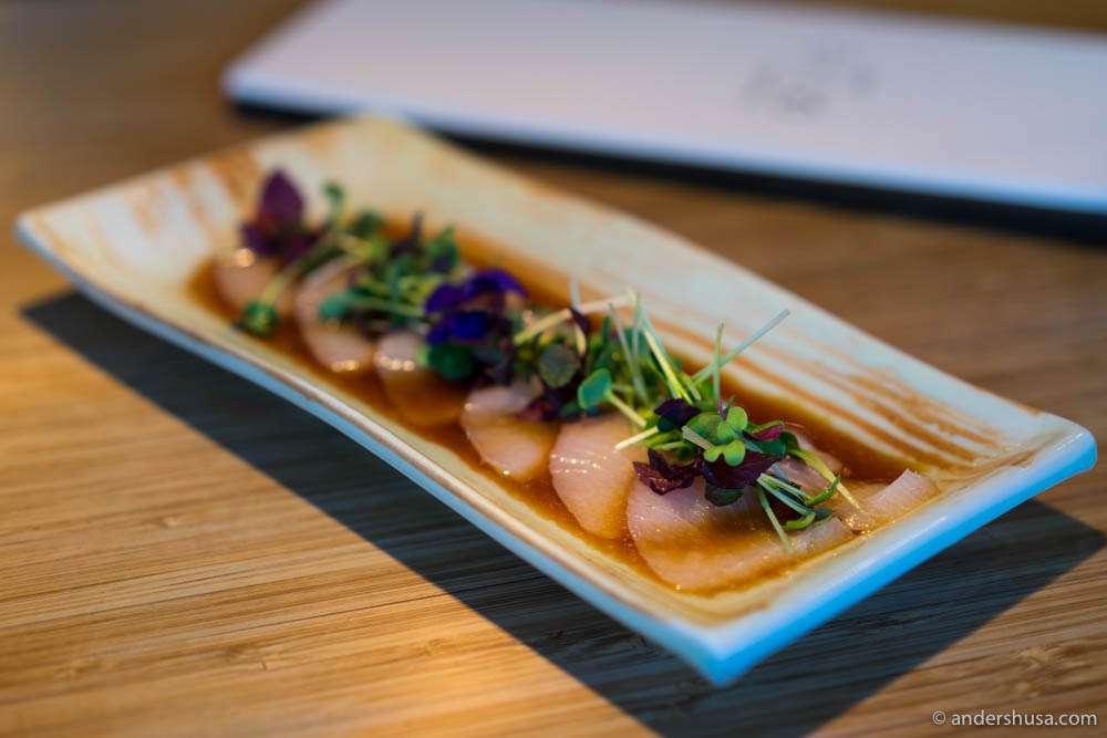Hamachi sashimi with onion sauce