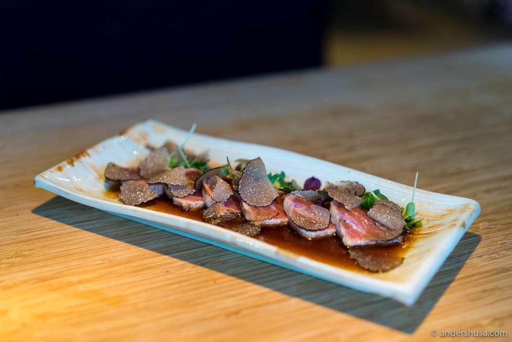 Sashimi of Norwegian tuna tataki with onion sauce & Gotland truffle