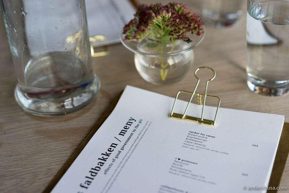 Matias Faldbakken menu at Vingen Bar