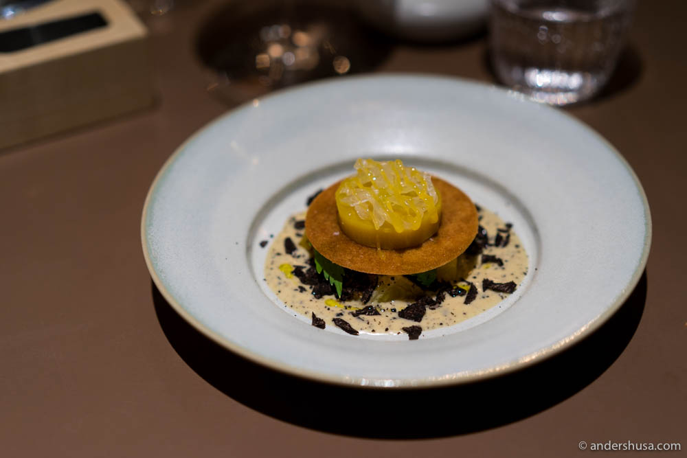 Yellow beet tart, lovage, kale purée, pickled onion, egg yolk & black truffle crème double.