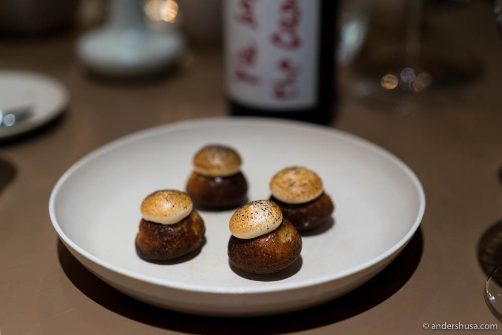 Maple syrup cake with liquorice ganache & soy meringue as petits fours