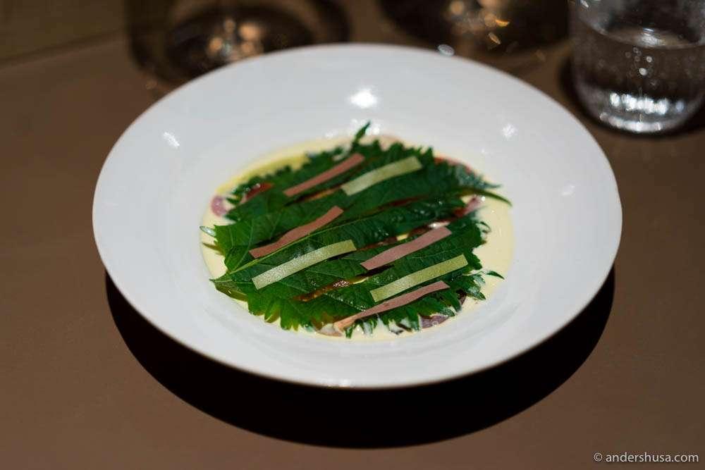 Tuna toro, almond sauce, tomatoes & shiso leaves.