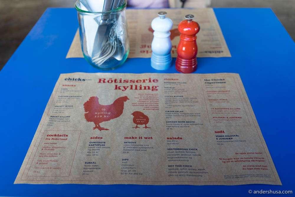 The menu at Chicks by Chicks
