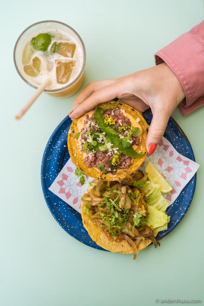 The beauty and the beast – beef tartare tostada and Gasoline Grill taco.