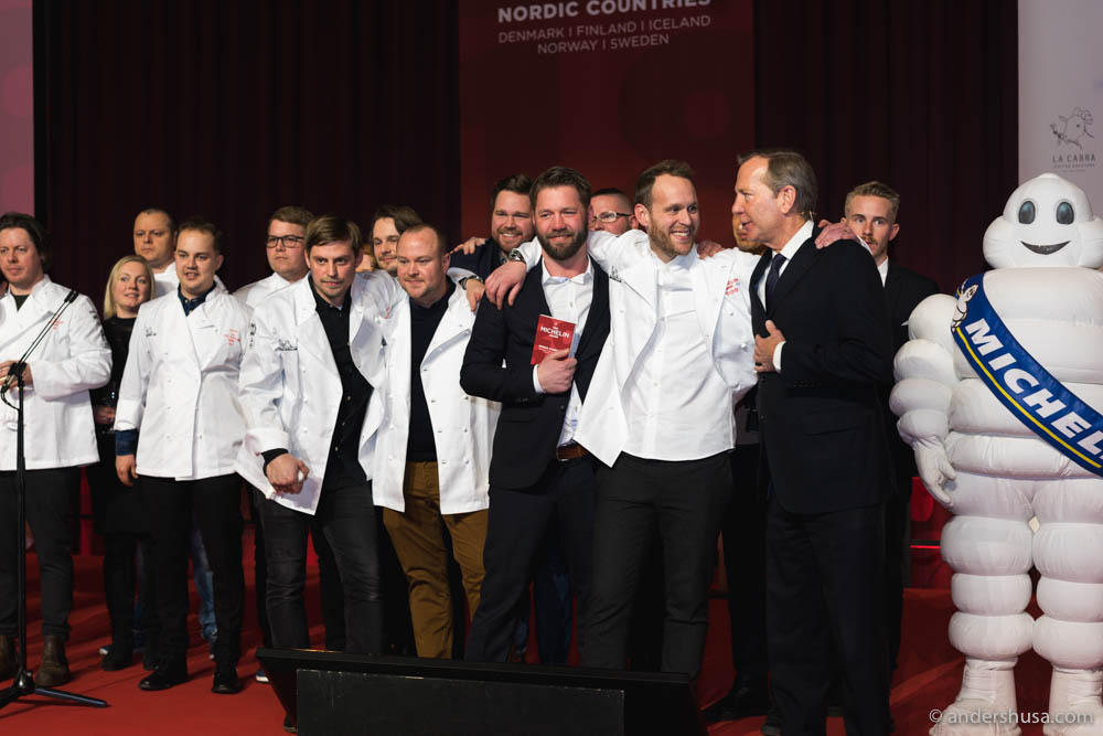 All the winners on stage. The broadest smile was on Björn Frantzén and his restaurant manager Carl Frosterud.