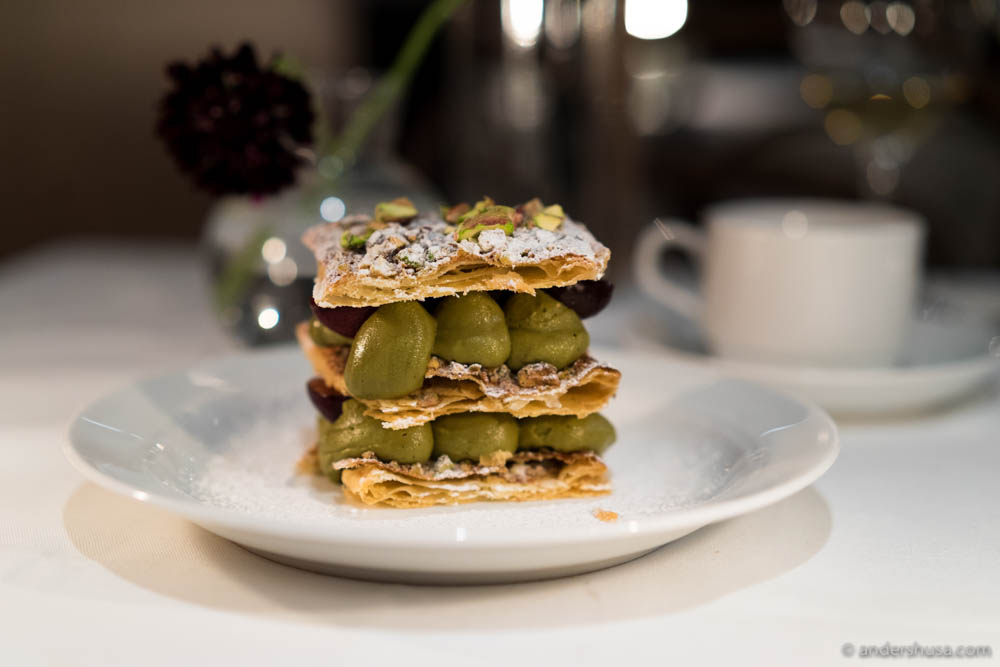Pistachio cream and cherry Mille Feuille