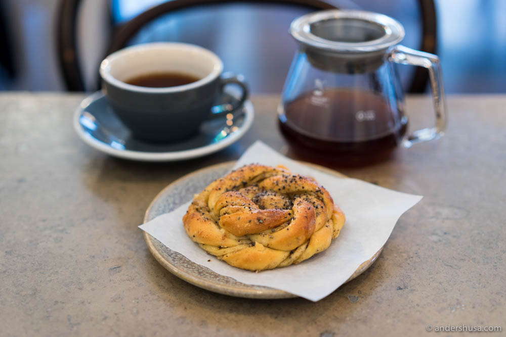 V60 coffee and sweet cardamom buns