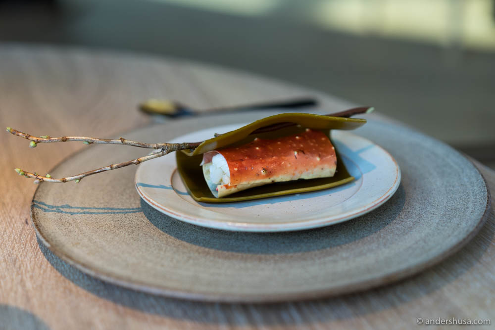King Crab from Northern Norway poached in pumpkin seed milk and wrapped in seaweed
