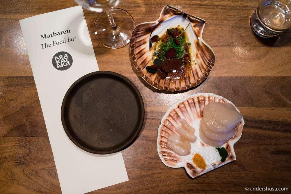Scallops & razor clams in porcini soy with tapioca