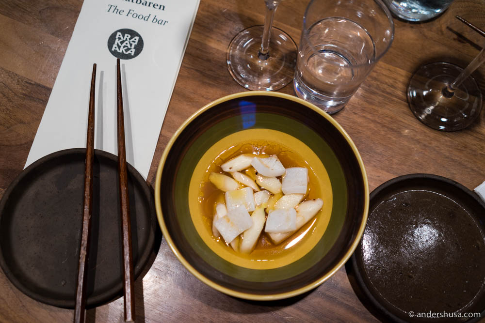 Squid & white asparagus with browned butter broth