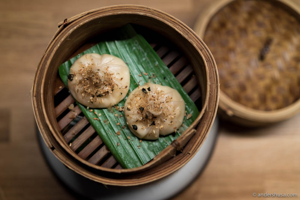 Fish & shrimp dumplings with Japanese furikake seasoning