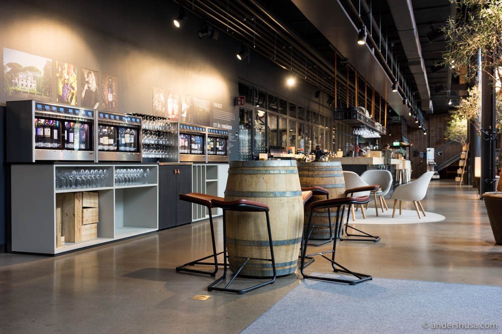 The reception area of the Winery hotel, where you can purchase wines by centiliter from specially constructed wine coolers