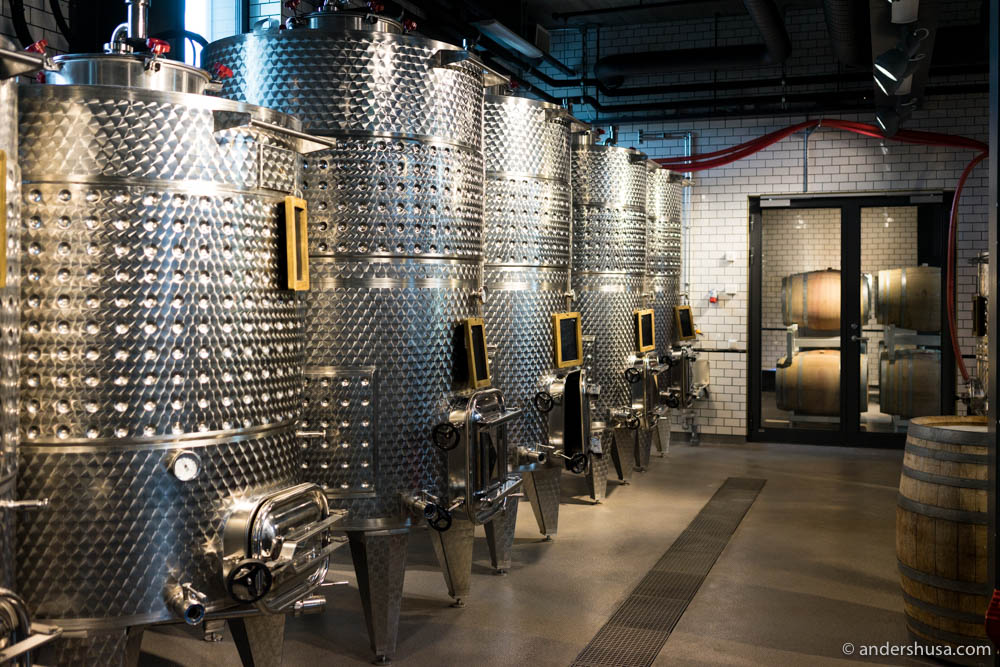 Wine maturing in large steels tanks