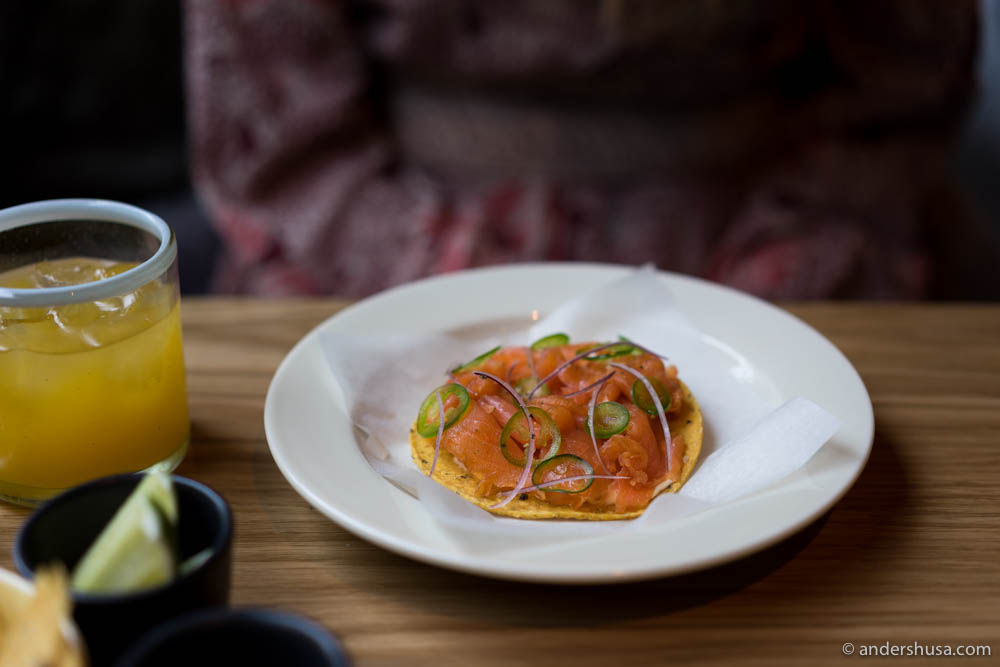 Salmon tostada – a lovely fusion of Nordic and Mexican flavors