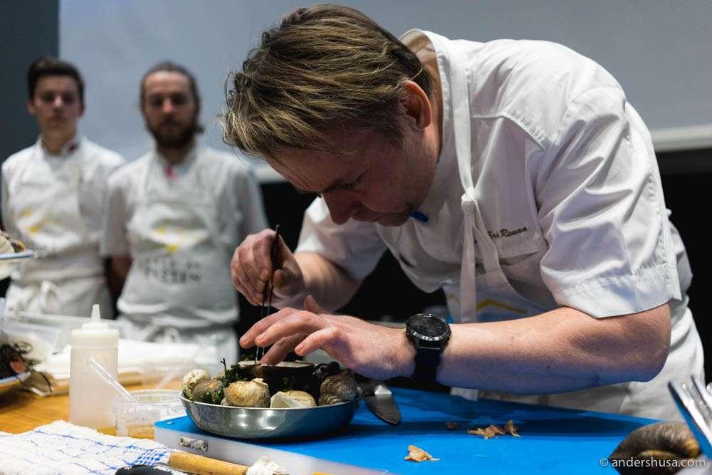Michelin-starred chef Sven Erik Renaa in action