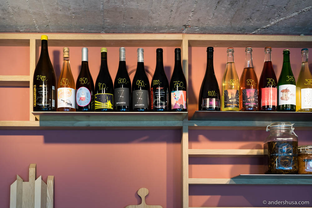 Great selection of natural wines at Pedro's tiny wine bar