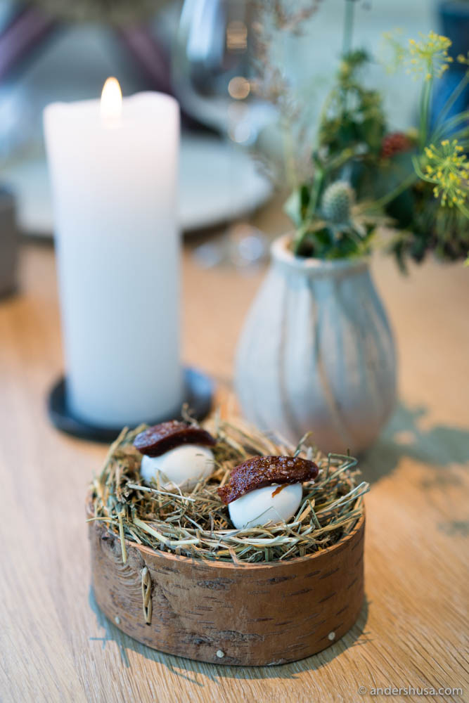 Smoked quail's egg with a 'chorizo' of plum and rose hip