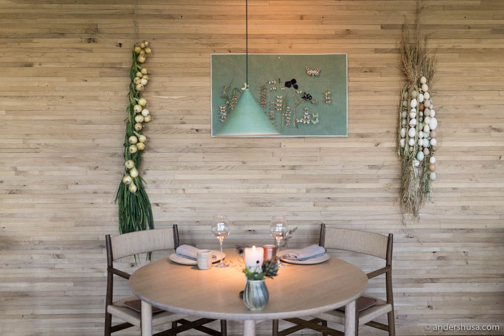 Interior details of Noma. Everything has been updated to match the colors and produce of the vegetable season