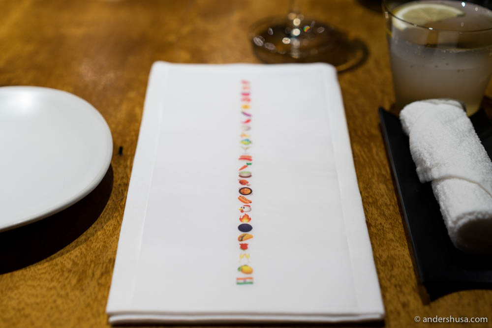 The emoji menu at Gaggan