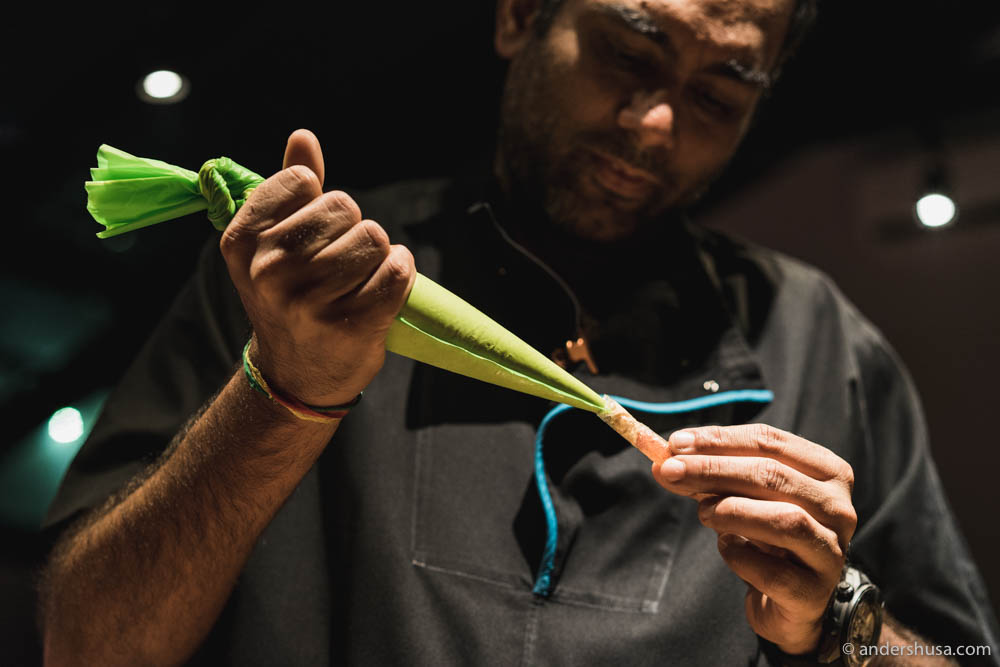 Gaggan Anand cooking in the lab kitchen himself