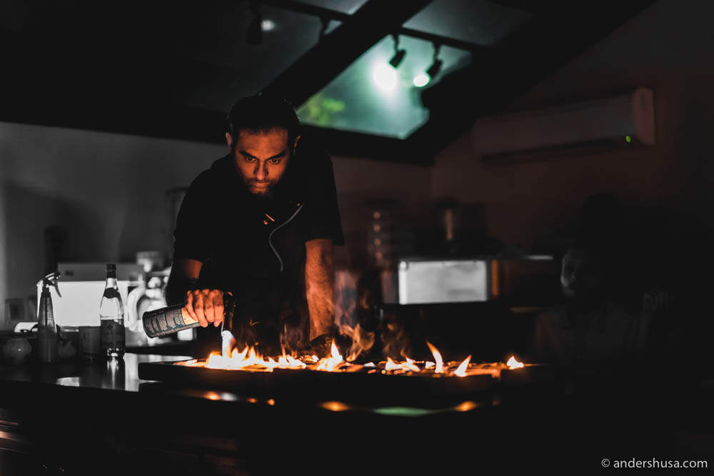 Lights off when Gaggan cooks with fire