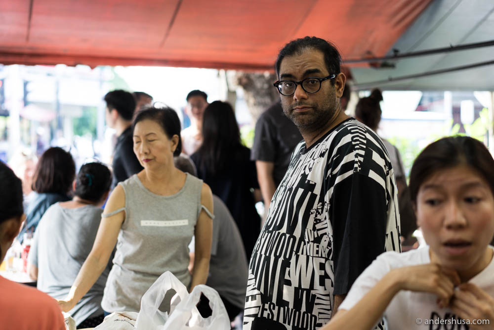 Gaggan Anand in the busy Bangkok crown outside Raan Jay Fai