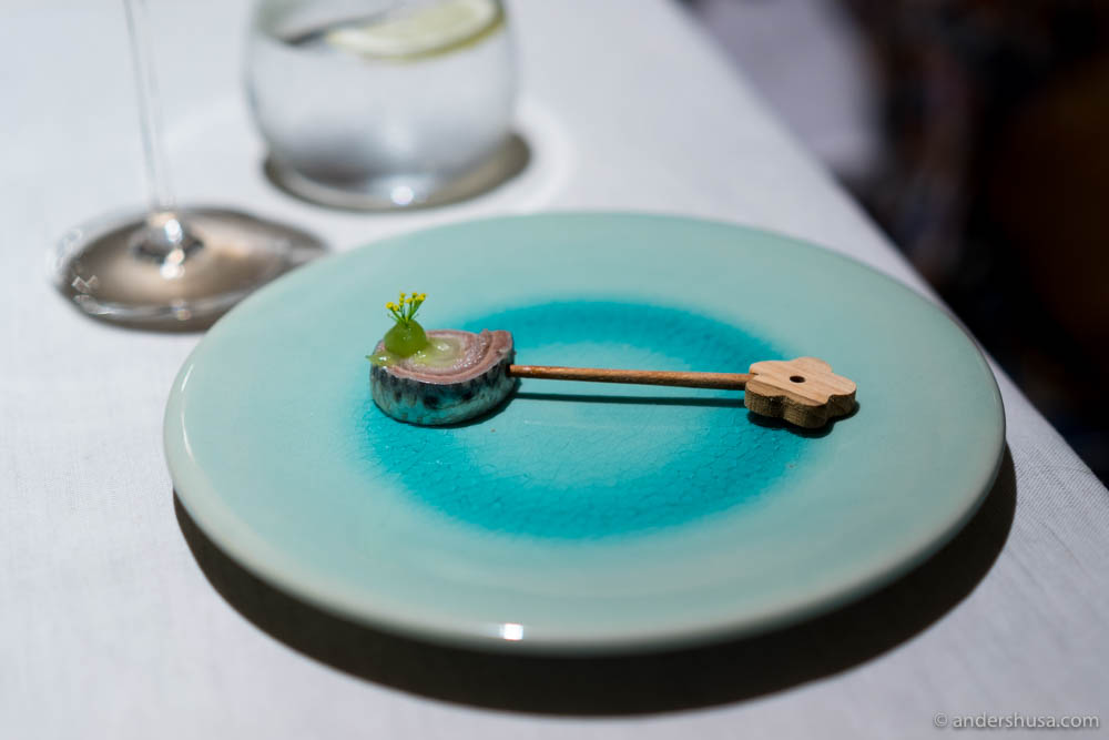 The Sühring brothers' take on classic German rollmops – pickled herring fillets rolled around a filling and stuck on a cocktail skewer