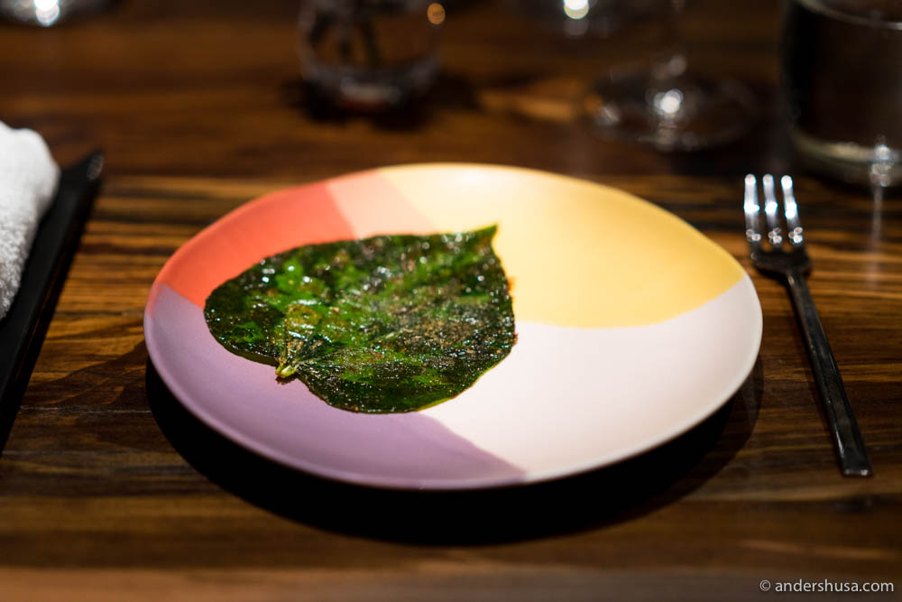 Savory betel leaf with duck stock and herb salt