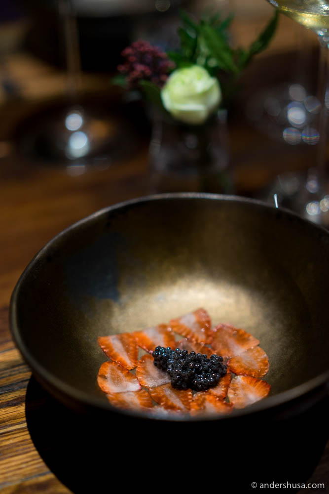 Local wild strawberries and Royal Project sturgeon caviar with hor wor oil (700 baht extra)