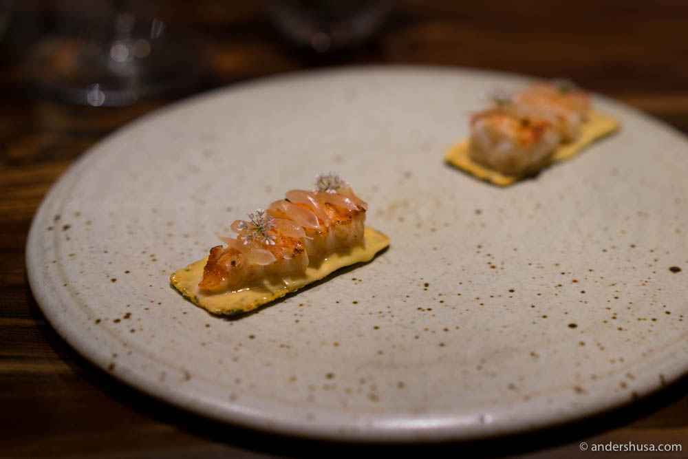 Crayfish, pomelo, and cilantro flowers on a traditional Indian Khakhra cracker