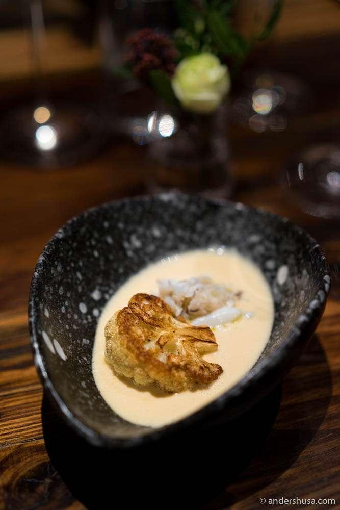 Roasted cauliflower, caramelized whey sauce & blue crab