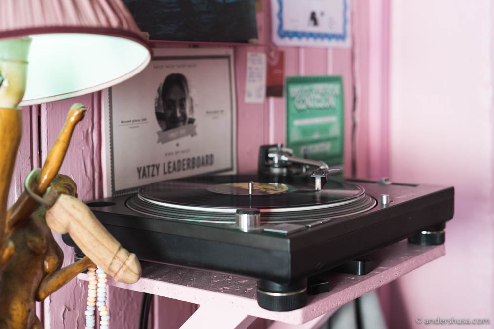 Vinyl records playing