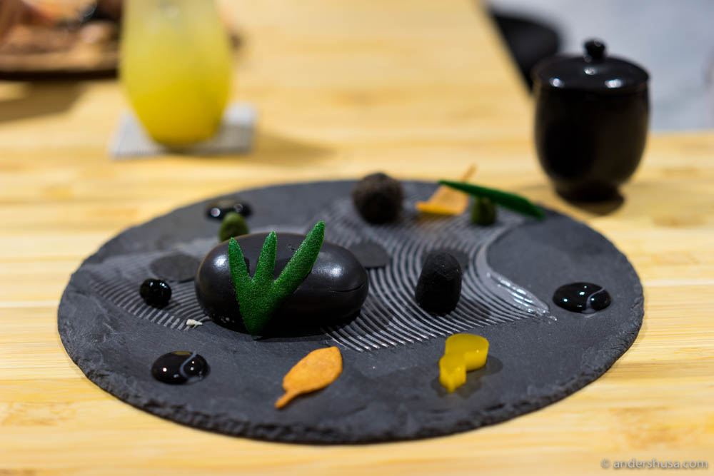 Zen Garden – Black sesame cheesecake dusted with sesame granite & bamboo charcoal condiments