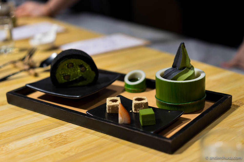 Kyoto Winter – charcoal & matcha soft serve and roll cake
