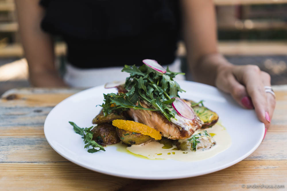 Salmon, potatoes, arugula, radish, butter sauce and oranges