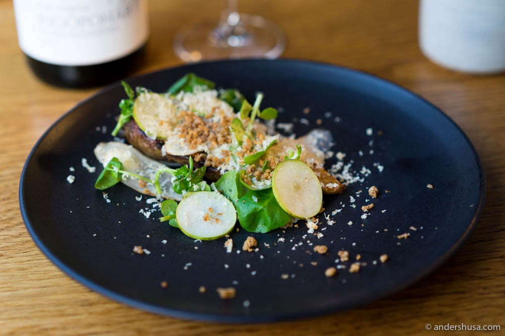 Roasted sunchokes, cheese cream, pear, watercress, walnut & crispy chicken skin
