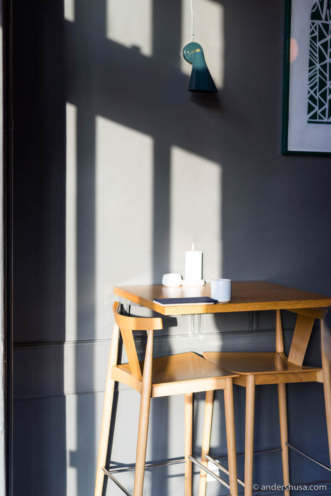 I loved the play of light and shadows in the restaurant this afternoon
