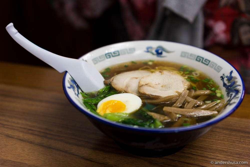 Shoyu ramen – Japanese-style noodle soup with soy sauce (THB 200)