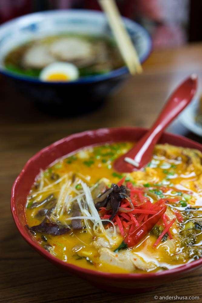Tonkotso Chili Ramen  – spicy pork bone noodle soup (THB 240)